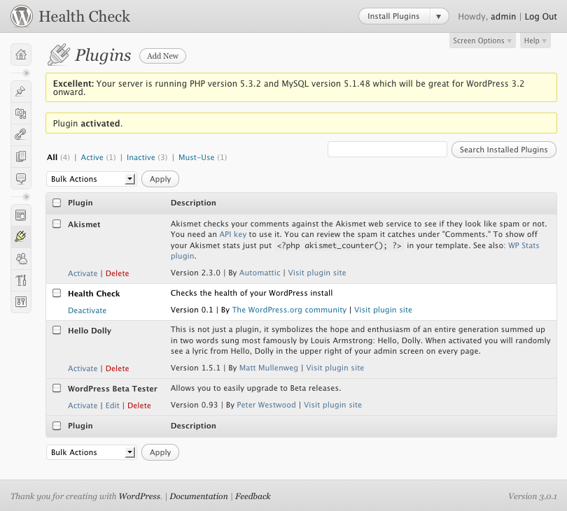 Health Check WordPress Plugin