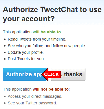Authorize TweetChat