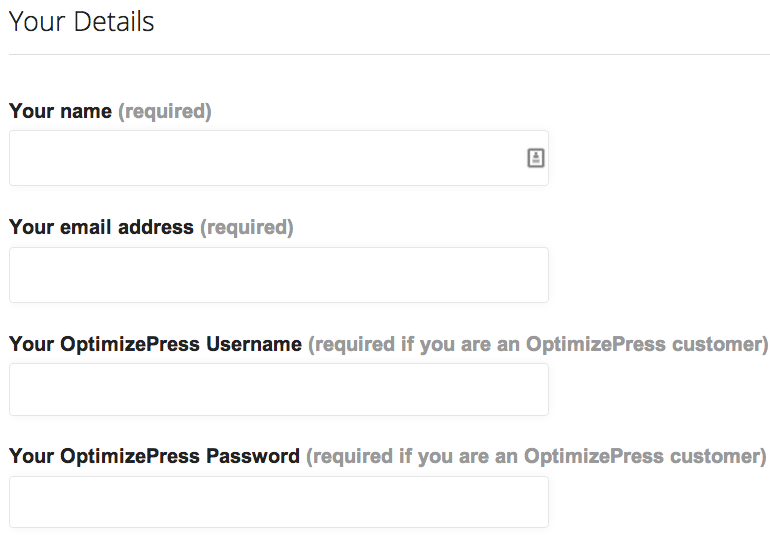 OptimizePress Submit Ticket Form